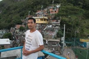 Director Yazeed Kamaldien visits Santa Marta favela in Rio.
